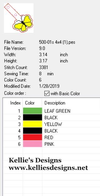 500-01 Butterfly Snaptab Color Chart