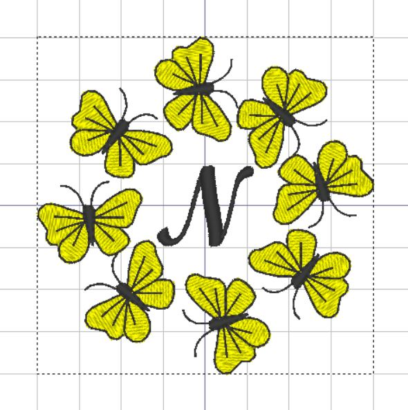 Butterfly Monogram N