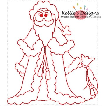 Redwork Antique Santa