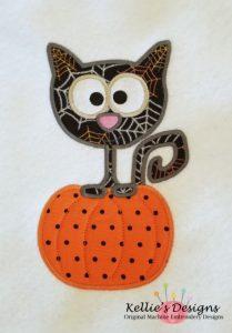 Cat In Pumpkin Applique