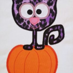 Cat In Pumpkin Applique