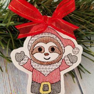 Santa Sloth Ornament