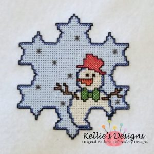Cross Stitch Snowman In Snowflake