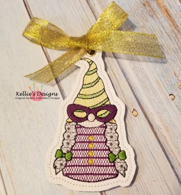 Mrs Mardi Gras Gnome Ornament
