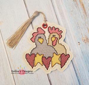 Cross Stitch Chicken Love Ornament