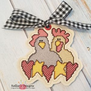 Cross Stitch Chicken Love Ornament