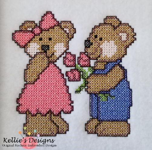 Cross Stitch Bears With Flowers