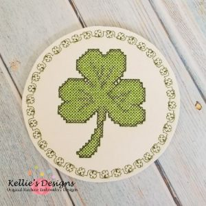 Cross Stitch Shamrock Coaster