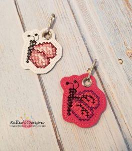 Cross Stitch Butterfly Zipper Pull