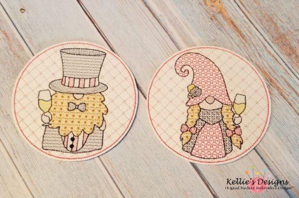 Gnome Bride and Groom Coaster Set