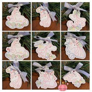Whimsical Christmas Unicorn Ornament Set